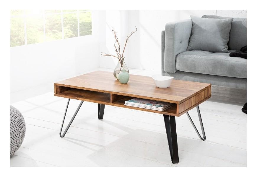 Dizajnový konferenčný stolík z masívneho dreva a kovu