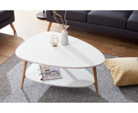 Dizajnový konferenčný stolík Scandinavia biela/dub