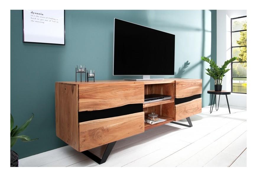 Jedinečný, moderne spracovaný TV stolík z masívneho dreva akácie a kovu