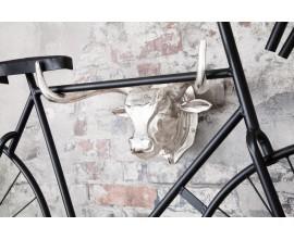 Dizajnová dekoračná hlava býka 47cm strieborná