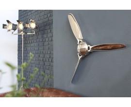 Dizajnová nástenná dekorácia vrtule 90cm strieborná