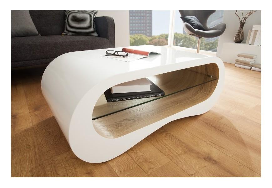 Dizajnový stolík v minimalistických, zaoblených tvaroch