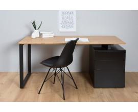 Dizajnový pracovný stôl so zásuvkami 160cm čierna/dub