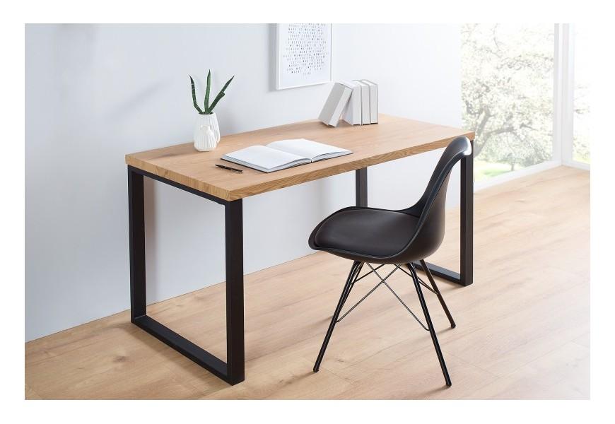 Dizajnový moderný pracovný stôl 128cm čierna/dub