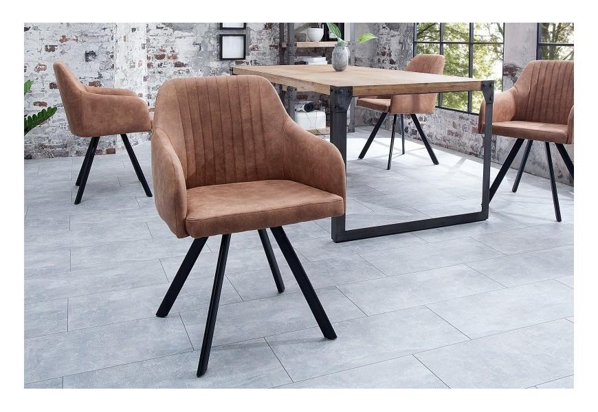 Dizajnová vintage stolička Lucca hnedá