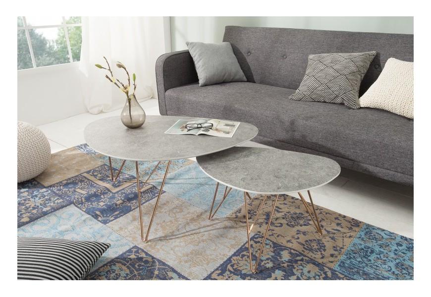 Set dizajnových konferenčných stolíkov betón/zlatá