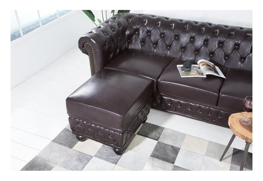 Luxusná taburetka Chesterfield tmavá hnedá