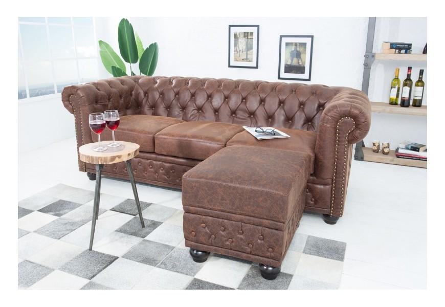 Luxusná taburetka Chesterfield hnedá