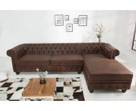 Luxusná rohová pohovka Chesterfield hnedá koža