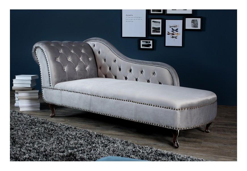 Luxusná zamatová leňoška Chesterfield šedá/strieborná
