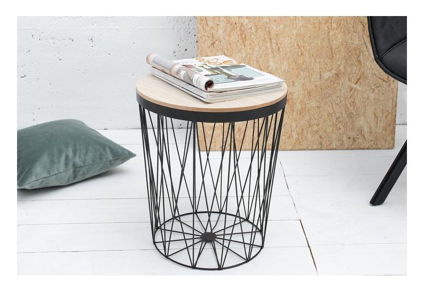 Dizajnový príručný stolík Storage II čierna/dub