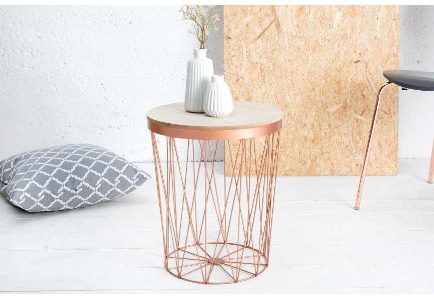 Dizajnový príručný stolík Storage II medená/dub