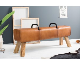 Dizajnová luxusná lavica Bock Kult z pravej kože 134cm