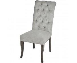 Jedinečná Chesterfield sivá čalúnená stolička Roll Top Thatcher s kruhovým klopadlom a nohami z masívu
