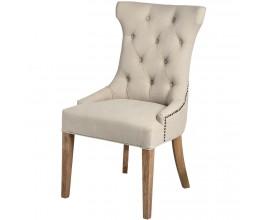 Chesterfield luxusná jedálenská stolička Thatcher krémová so strieborným klopadlom a nohami z masívu 100cm