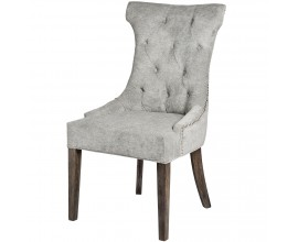Chesterfield luxusná jedálenská stolička Thatcher sivá so striebornými aplikáciami a nohami z dreva 102cm