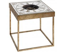 Dizajnový príručný stolík s hodinami hranatý