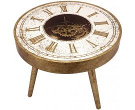 Dizajnový príručný stolík s hodinami guľatý