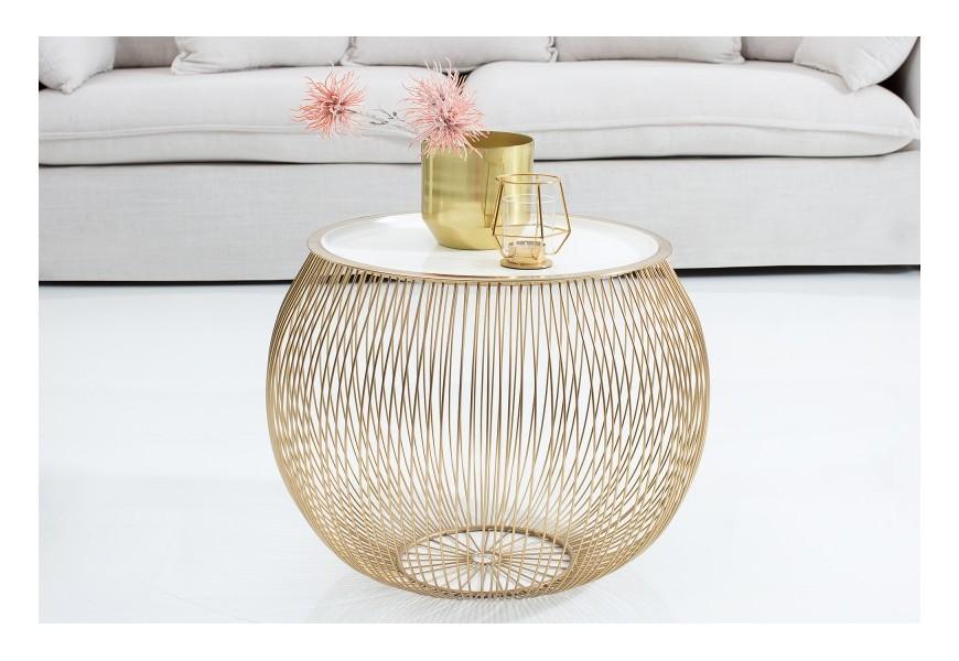 Výnimočný zlatobiely okrúhly stolík v Art-Deco štýle Storage