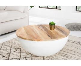 Dizajnový konferenčný stolík z masívu Spazio Mango biely