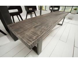 Štýlová industriálna lavica z masívu Steele Craft 170cm sivá