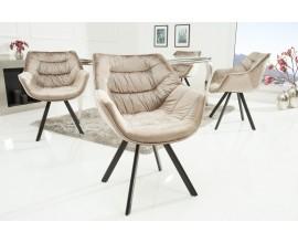 Štýlová zamatová stolička Antik béžová