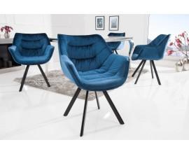 Štýlová zamatová stolička Antik modrá