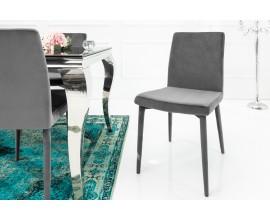 Dizajnová jedálenská zamatová stolička Milano sivá