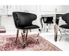 Luxusná stolička Modern Barock II zamatová čierna, sivá