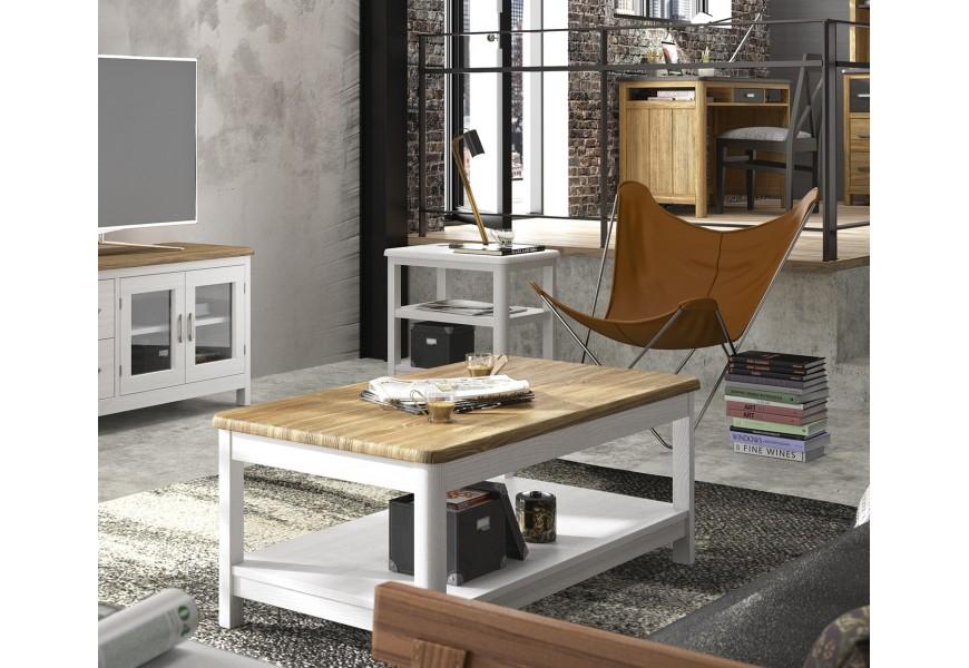 Elegantný konferenčný stolík v nadčasovom prevedení s rustikálnymi prvkami