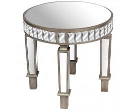 Zrkadlový luxusný kruhový príručný stolík Belfry