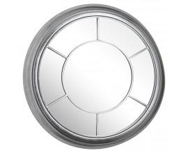 Luxusné okrúhle zrkadlo so strieborným rámom
