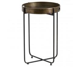 Vysoký industriálny príručný stolík v bronzovo-čiernej farebnej kombinácii