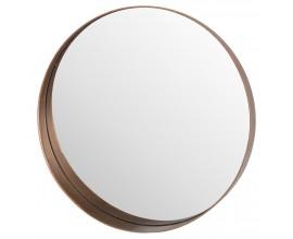 Minimalistické okrúhle zrkadlo s medeným rámom