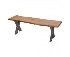 Jedinečná dizajnová lavica z kovu a masívneho dreva akácie