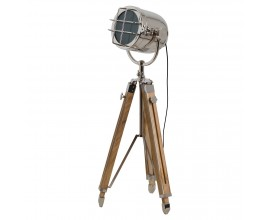 Dizajnová industriálna lampa Spotlight nikel/drevo