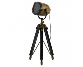 Dizajnová industriálna lampa Spotlight mosadz/drevo