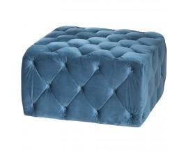 Luxusná zamatová taburetka Ottoman modrá