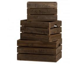 Set troch drevených rustikálnych debničiek