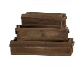 Set troch rustikálnych úložných boxov z masívu