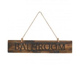 Drevená ceduľa BATHROOM