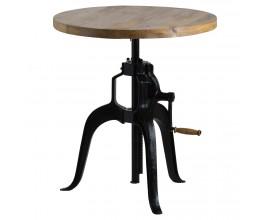 Industriálny výškovo nastaviteľný barový stolík