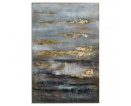 Extravagantný abstraktný obraz v zlatom ráme