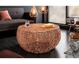 Kovový okrúhly konferenčný stolík Hoja medený 80cm