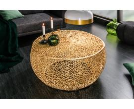 Okrúhly kovový konferenčný stolík Hoja zlatý 80cm