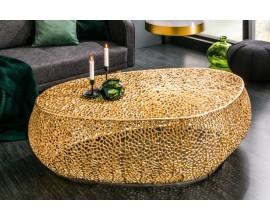 Dizajnový oválny kovový konferenčný stolík Hoja zlatý 120cm