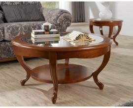 Luxusný rustikálny okrúhly konferenčný stolík RUSTICA 60/90cm presklený