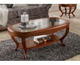 Luxusný oválny rustikálny konferenčný stolík Rustica 112cm presklený