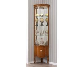 Luxusná rustikálna rohová vyrezávaná vitrína RUSTICA s LED podsvietením