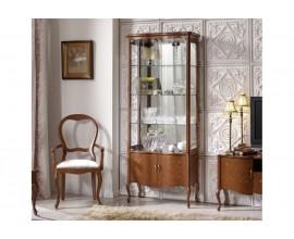 Luxusná rustikálna vitrína Rustica presklená zdobená vyrezávaním 78cm